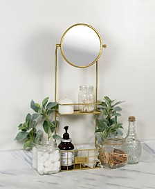 VIP Home & Garden Gold Metal Mirror with Shelves