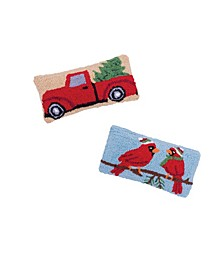 Set of 2 Hooked Pillows Cardinal and Red Truck