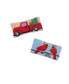 C&F Home Set of 2 Hooked Pillows Cardinal and Red Truck