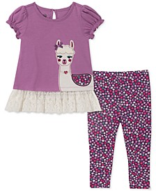 Baby Girls 2-Pc. Llama Tunic & Printed Leggings Set