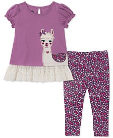 Kids Headquarters Baby Girls 2-Pc. Llama Tunic & Printed Leggings Set