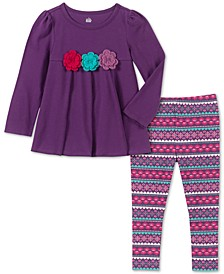 Baby Girls 2-Pc. Crochet Trim Tunic & Printed Leggings Set