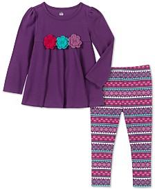 Kids Headquarters Baby Girls 2-Pc. Crochet Trim Tunic & Printed Leggings Set