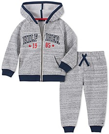 Baby Boys 2-Pc. Marled Fleece Hoodie & Jogger Pants Set