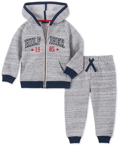 Tommy Hilfiger Baby Boys 2-Pc. Marled Fleece Hoodie & Jogger Pants Set