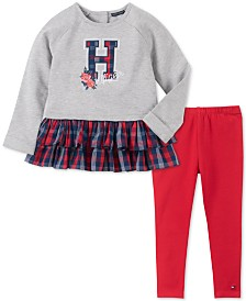 Tommy Hilfiger Baby Girls 2-Pc. Paid Hem Tunic & Leggings Set
