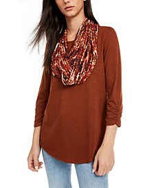 Juniors' Ruched-Sleeve Scarf Top