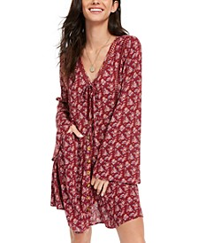 Juniors' Printed Bell-Sleeved Mini Dress, Created for Macy's