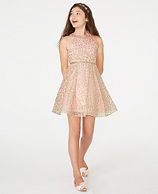 Big Girls Glitter Animal-Print Mesh Dress