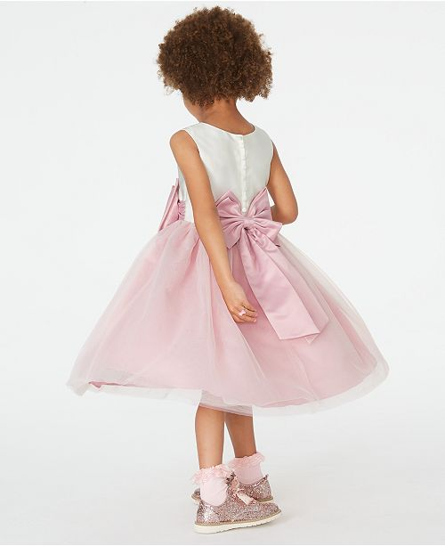 Rare Editions Little Girls Satin Bow Fit Amp Flare Dress