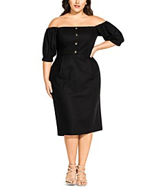 Trendy Plus Size Off-The-Shoulder Dress