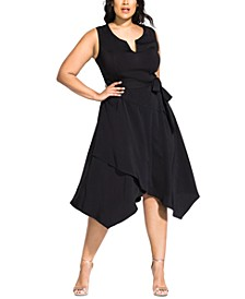 Trendy Plus Size Notched A-Line Dress