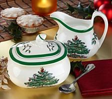 Christmas Tree Sugar Bowl and Creamer Set