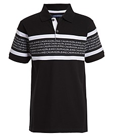 Big Boys Rugby Stripe Logo Polo Shirt
