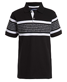 Calvin Klein Jeans Big Boys Rugby Stripe Logo Polo Shirt