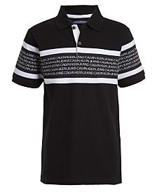 Calvin Klein Jeans Big Boys Rugby Stripe Logo Polo Shirt