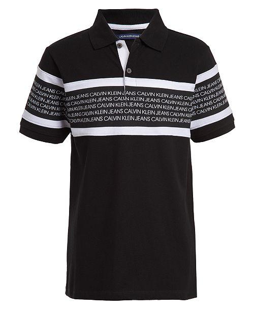 Calvin Klein Big Boys Rugby Stripe Logo Polo Shirt