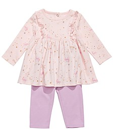 Baby Girls 2-Pc. Cotton Unicorn-Print Tunic & Leggings Set, Created for Macy's
