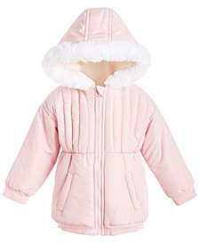 Baby Girls Plush Trim Parka, Created for Macy's
