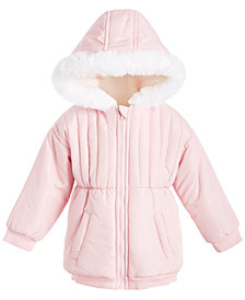 First Impressions Baby Girls Hooded Jacket With Faux-Fur Trim, Created for Macy's