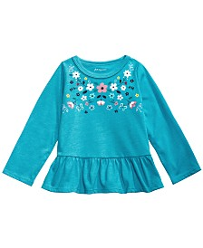 First Impressions Toddler Girls Cotton Floral-Print Peplum Tunic, Created for Macy's