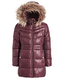 Michael Kors Big Girls Stadium Puffer Jacket With Removable Faux-Fur-Trimmed Hood