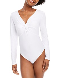 Juniors' Twisted Thong Bodysuit