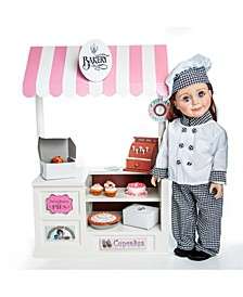 """Complete 18"""" Doll Bakery Shop with Baked Goodies, Food Accessories, Boxes, Register"""
