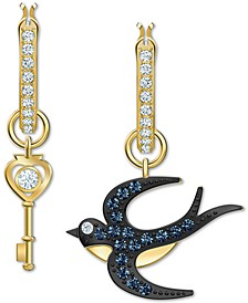 Gold-Tone Crystal Bird & Key Mismatch Drop Hoop Earrings