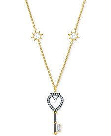 "Gold-Tone Crystal Key Reversible Pendant Necklace, 16"" + 1/2"" extender"