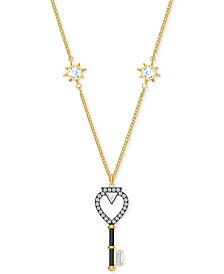 "Swarovski Gold-Tone Crystal Key Reversible Pendant Necklace, 16"" + 1/2"" extender"