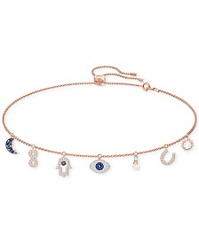 Swarovski Rose Gold-Tone Crystal Protective Charm Bolo Necklace