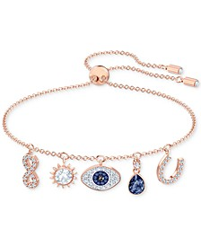 Rose Gold-Tone Crystal Protective Charm Bolo Bracelet
