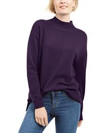 Karen Scott Seam-Detail Cotton Mock-Neck Sweater, Created for Macy's