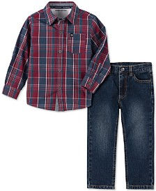 Calvin Klein Jeans Little Boys 2-Pc. Plaid Shirt & Jeans Set