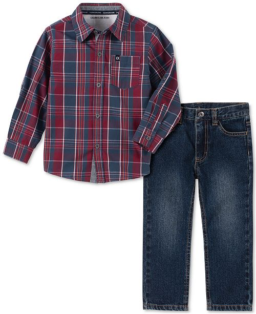 Calvin Klein Toddler Boys 2-Pc. Plaid Shirt & Jeans Set