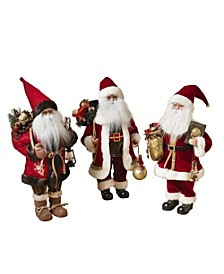 Classic Standing Polyester Santa Figurines - Set of 3