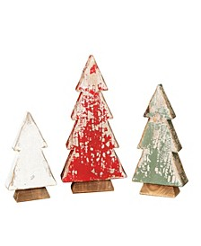 Assorted Set of 3 Wood Tabletop Tree Figures in Red, Green, White