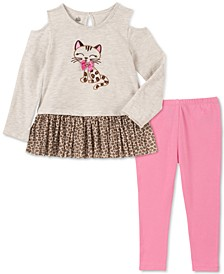 Little Girls Cold-Shoulder Cat Tunic & Leggings Set