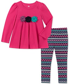 Kids Headquarters Toddler Girls Floral Tunic & Printed Leggings Set