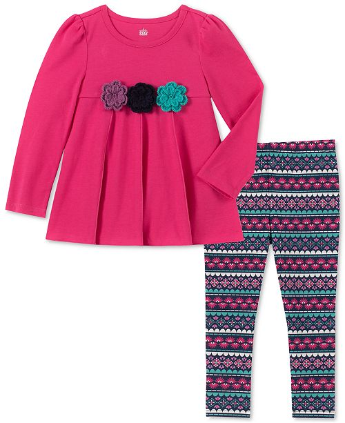 Kids Headquarters Toddler Girls Floral Tunic & Printed Leggings Set