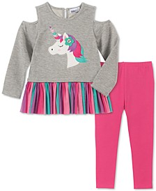 Little Girls Cold-Shoulder Unicorn Tunic & Leggings Set