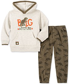 Kids Headquarters Little Boys Big Attitude 2-Pc. Dino Appliqué Fleece Hoodie & Twill Dino-Print Jogger Pants Set
