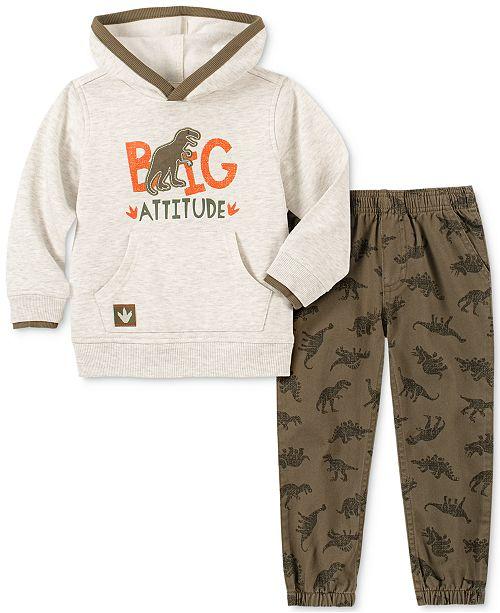 Kids Headquarters Little Boys Big Attitude 2-Pc. Dino Appliqué Fleece Hoodie & Twill Dino-Print Jogger Pants Set