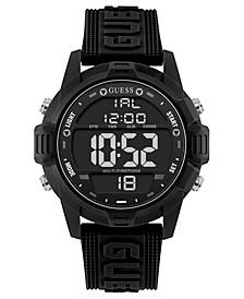 Men's Digital Black Silicone Strap Watch 48mm