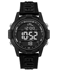 GUESS Men's Digital Black Silicone Strap Watch 48mm