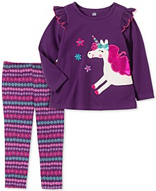 Toddler Girls 2-Pc. Long Sleeve Unicorn Tunic & Printed Leggings Set