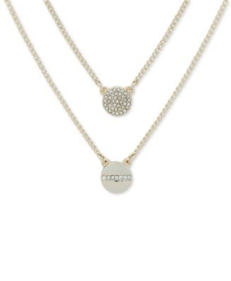 """Gold-Tone Crystal Pendant Two-Row Necklace, 16"""" + 3' extender"""