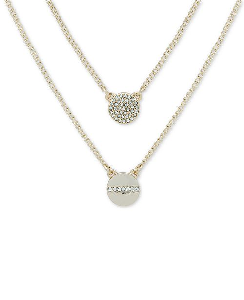 "DKNY Gold-Tone Crystal Pendant Two-Row Necklace, 16"" + 3' extender"