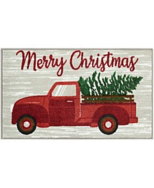 "Merry Christmas Truck With Tree 18"" x 30"" Accent Rug"